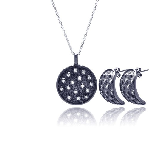 -Closeout- Wholesale Sterling Silver 925 Black Rhodium Plated Circle CZ Stud Earring and Necklace Set - STS00341