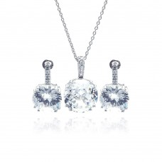 Wholesale Sterling Silver 925 Rhodium Plated Circle CZ Stud Earring and Necklace Set - STS00342