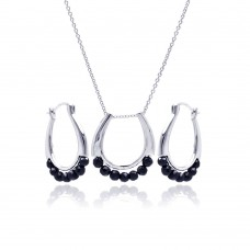 **Closeout** Wholesale Sterling Silver 925 Rhodium Plated Open Round Black Ball CZ Hoop Earring and Necklace Set - STS00345