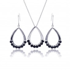 **Closeout** Wholesale Sterling Silver 925 Rhodium Plated Open Teardrop Black Ball CZ Dangling Hook Earring and Necklace Set - STS00346