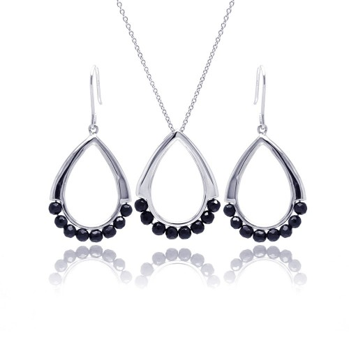 -Closeout- Wholesale Sterling Silver 925 Rhodium Plated Open Teardrop Black Ball CZ Dangling Hook Earring and Necklace Set - STS00346