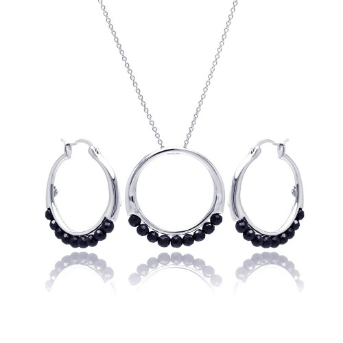 **Closeout** Wholesale Sterling Silver 925 Rhodium Plated Round Black Ball CZ Hoop Earring and Necklace Set - STS00347