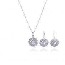 Wholesale Sterling Silver 925 Rhodium Plated Antique Style Princess Cut CZ Hook Earring and Necklace Set - STS00348