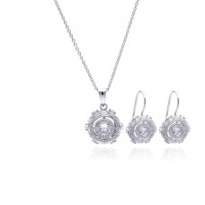Sterling Silver Rhodium Plated Antique Style Round CZ Hook Earring & Necklace Set sts00349