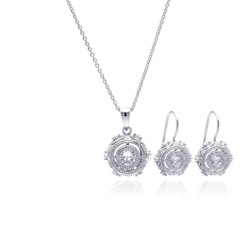 Wholesale Sterling Silver Rhodium 925 Plated Antique Style Round CZ Hook Earring and Necklace Set - STS00349
