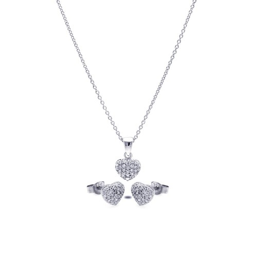 Wholesale Sterling Silver 925 Rhodium Plated Heart CZ Stud Earring and Necklace Set - STS00350