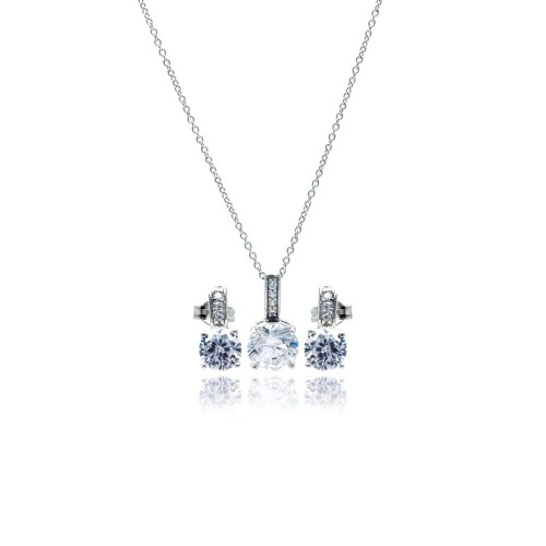 Wholesale Sterling Silver 925 Rhodium Plated Round CZ Stud Earring and Necklace Set - STS00351
