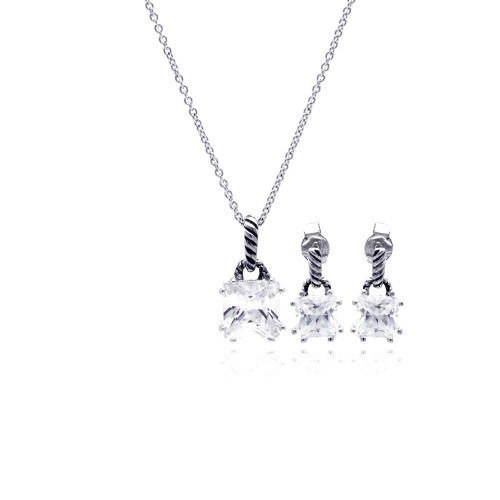 Wholesale Sterling Silver 925 Rhodium Plated Princess Cut CZ Dangling Stud Earring and Necklace Set - STS00352