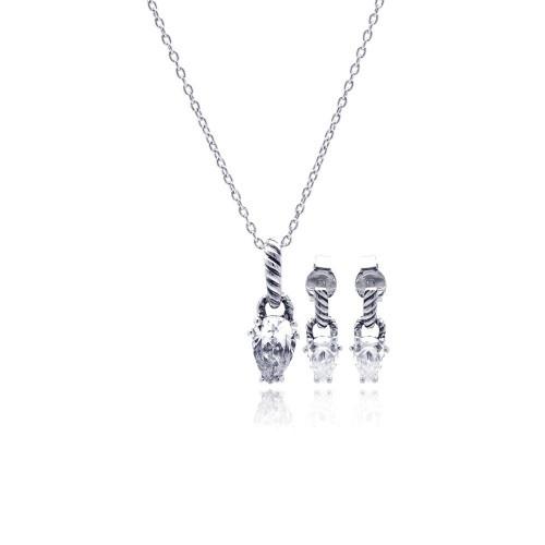 Wholesale Sterling Silver 925 Rhodium Plated Teardrop CZ Dangling Stud Earring and Necklace Set - STS00353
