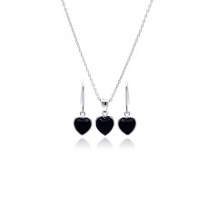 Wholesale Sterling Silver 925 Rhodium Plated Black Onyx Heart CZ Dangling Hook Earring and Necklace Set - STS00355