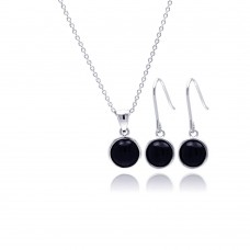 Wholesale Sterling Silver 925 Rhodium Plated Round Black Onyx CZ Dangling Hook Earring and Necklace Set - STS00356