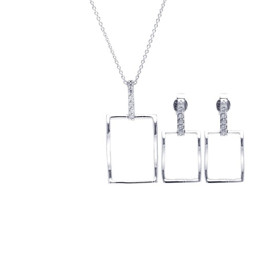 Wholesale Sterling Silver 925 Rhodium Plated Open Square CZ Dangling Stud Earring and Necklace Set - STS00357