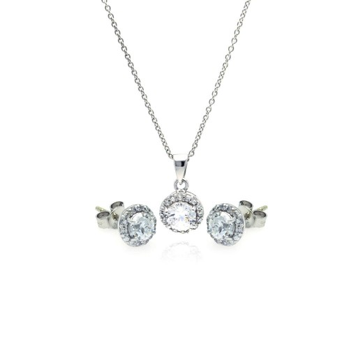 Wholesale Sterling Silver 925 Rhodium Plated Round CZ Stud Earring and Necklace Set - STS00359