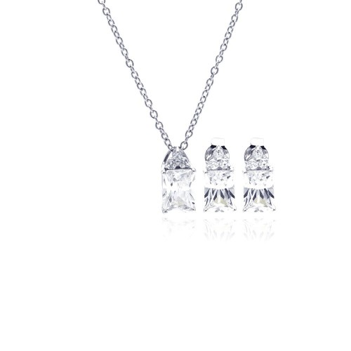 Wholesale Sterling Silver 925 Rhodium Plated Princess Cut CZ Stud Earring and Necklace Set - STS00360