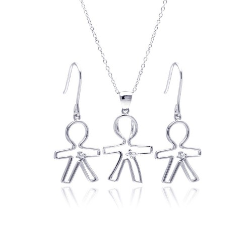 Wholesale Sterling Silver 925 Rhodium Plated Open Boy CZ Dangling Hook Earring and Necklace Set - STS00361