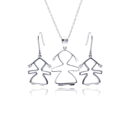 Wholesale Sterling Silver 925 Rhodium Plated Open Girl CZ Dangling Hook Earring and Necklace Set - STS00362