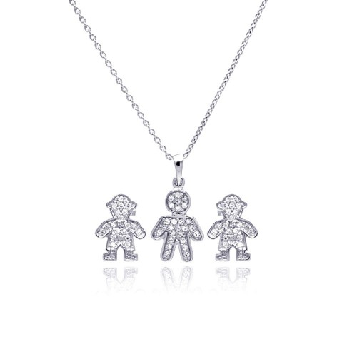 Wholesale Sterling Silver 925 Rhodium Plated Open Filigree CZ Boy Stud Earring and Necklace Set - STS00363