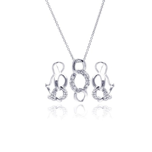 Wholesale Sterling Silver 925 Rhodium Plated Open Circle Link CZ Lever Back Earring and Necklace Set - STS00364