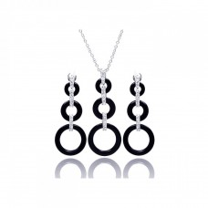 Wholesale Sterling Silver 925 Rhodium Plated Open Graduated Circle CZ Black Onyx Dangling Stud Earring and Necklace Set - STS00366