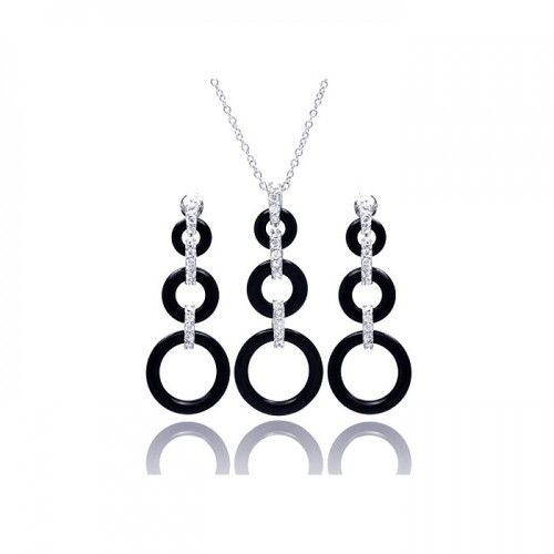 Wholesale Sterling Silver 925 Rhodium Plated Open Graduated Circle CZ Black Onyx Dangling Set - STS00366