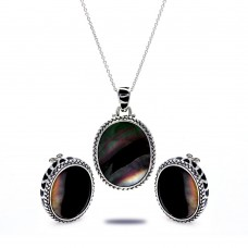 **Closeout** Wholesale Sterling Silver 925 Rhodium Plated Black Oval MOP CZ Stud Earring and Necklace Set - STS00368