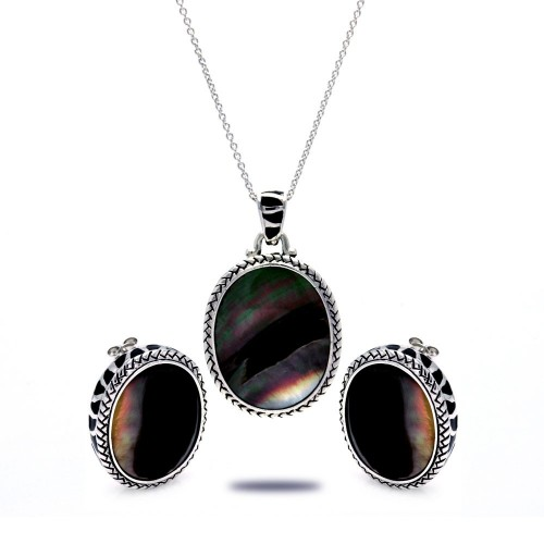 -Closeout- Wholesale Sterling Silver 925 Rhodium Plated Black Oval MOP CZ Stud Earring and Necklace Set - STS00368