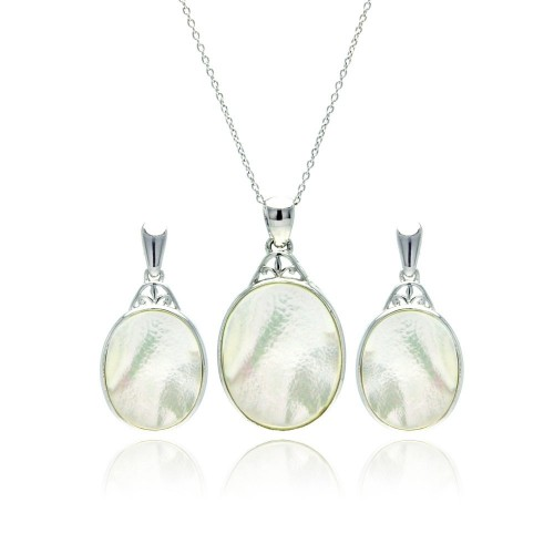 -Closeout- Wholesale Sterling Silver 925 Rhodium Plated White Oval Mother of Pearl CZ Dangling Stud Earring and Necklace Set - STS00370