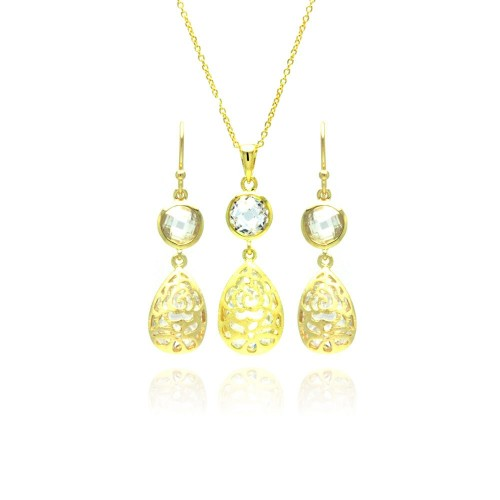 Wholesale Sterling Silver 925 Gold Plated Teardrop Round CZ Dangling Stud Earring and Necklace Set - STS00374