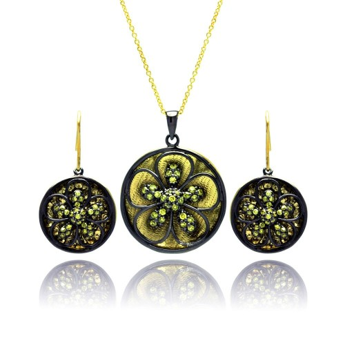 -Closeout- Wholesale Sterling Silver 925 Black Rhodium Gold Plated Flower CZ Dangling Stud Earring and Necklace Set - STS00375