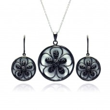 -Closeout- Wholesale Sterling Silver 925 Black Rhodium Plated Flower White Enamel CZ Dangling Stud Earring and Necklace Set - STS00376