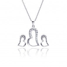 Wholesale Sterling Silver 925 Rhodium Plated Open Heart CZ Stud Earring and Necklace Set - STS00377