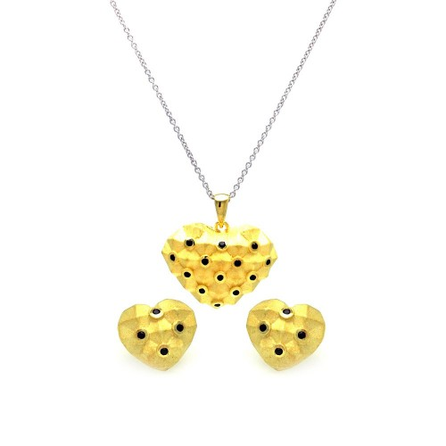 -Closeout- Wholesale Sterling Silver 925 Gold Plated Black Polka Dot Heart CZ Stud Earring and Necklace Set - STS00379