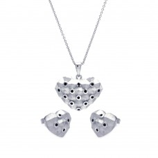 **Closeout** Wholesale Sterling Silver Rhodium Plated Black Polka Dot Heart CZ Stud Earring and Necklace Set - STS00380
