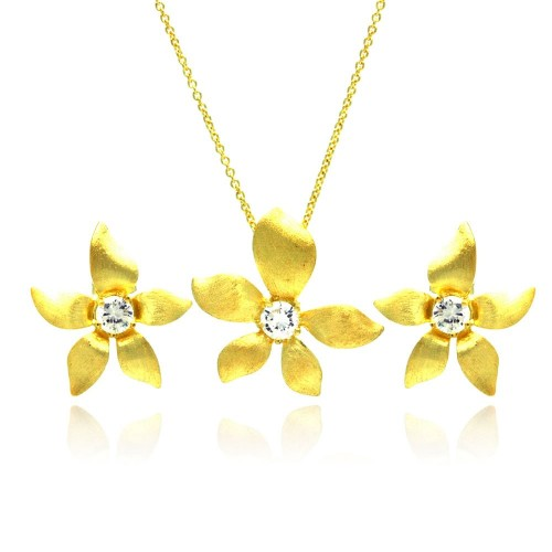 -Closeout- Wholesale Sterling Silver 925 Gold Plated Flower CZ Stud Earring and Necklace Set - STS00381