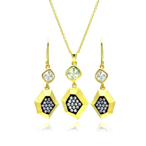 Wholesale Sterling Silver 925 Gold Plated Black CZ Dangling Stud Earring and Necklace Set - STS00382