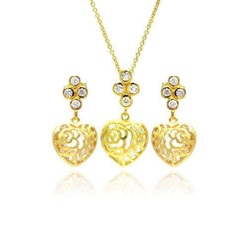 Wholesale Sterling Silver 925 Gold Plated Heart Filigree CZ Dangling Stud Earring and Necklace Set - STS00383