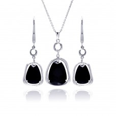 **Closeout** Wholesale Sterling Silver 925 Rhodium Plated Black Teardrop Wide CZ Dangling Lever Back Earring and Necklace Set - STS00386
