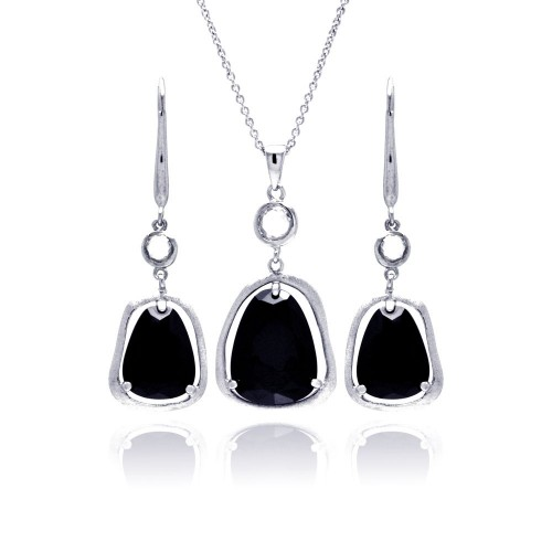 -Closeout- Wholesale Sterling Silver 925 Rhodium Plated Black Teardrop Wide CZ Dangling Lever Back Earring and Necklace Set - STS00386