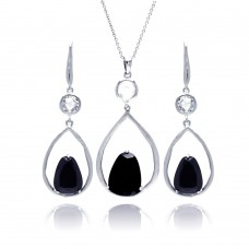 **Closeout** Wholesale Sterling Silver 925 Rhodium Plated Open Wide Teardrop Black CZ Earring and Necklace Set - STS00387