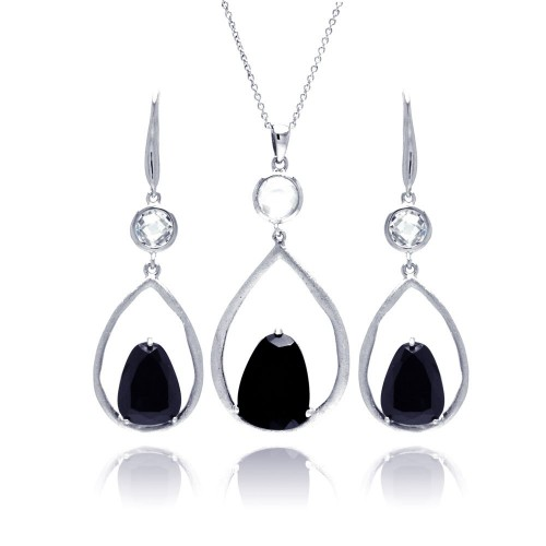 -CloseouT- Wholesale Sterling Silver 925 Rhodium Plated Open Wide Teardrop Black CZ Earring and Necklace Set - STS00387