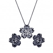 Wholesale Sterling Silver 925 Black Rhodium Plated Flower White Enamel CZ Stud Earring and Necklace Set - STS00388