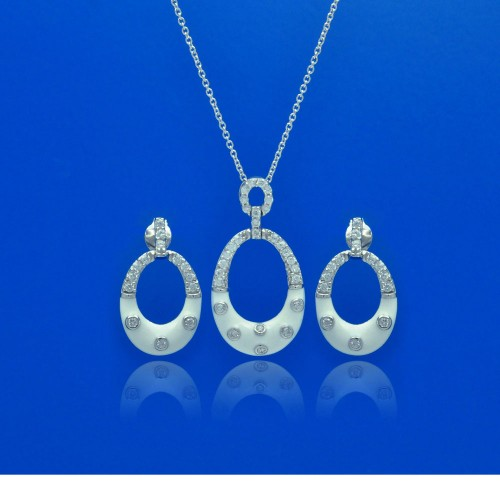 -Closeout- Wholesale Sterling Silver 925 Rhodium Plated Open Oval White Enamel CZ Dangling Stud Earring and Necklace Set - STS00391