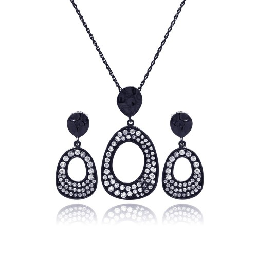 -Closeout- Wholesale Sterling Silver 925 Black Rhodium Plated Open Oval CZ Dangling Stud Earring and Necklace Set - STS00394