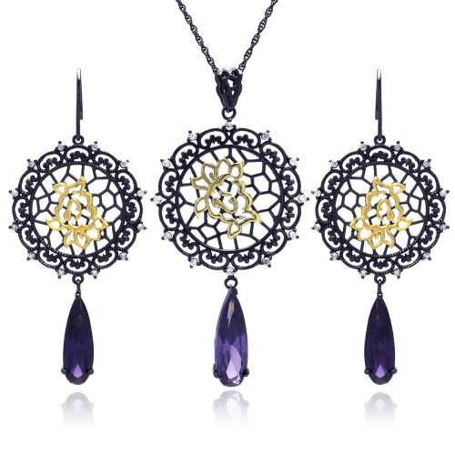 -Closeout- Wholesale Sterling Silver 925 Black Rhodium Plated Round Flower CZ Dangling Hook Earring and Necklace Set - STS00395