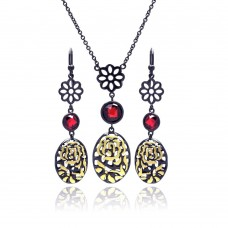 **Closeout** Sterling Silver Black Rhodium Gold Plated Flower Filigree Red CZ Stud Earring & Necklace Set sts00396