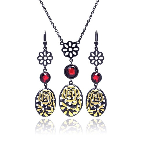 -Closeout- Wholesale Sterling Silver 925 Black Rhodium Gold Plated Flower Filigree Red CZ Stud Earring and Necklace Set - STS00396