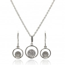 Wholesale Sterling Silver 925 Rhodium Plated Open Circle Micro Pave CZ Hook Earring and Necklace Set - STS00408