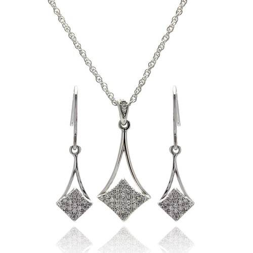 Wholesale Sterling Silver 925 Rhodium Plated Micro Pave CZ Dangling Hook Earring and Necklace Set - STS00409