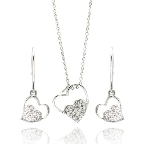 Wholesale Sterling Silver 925 Rhodium Plated Open Heart CZ Dangling Hook Earring and Necklace Set - STS00410
