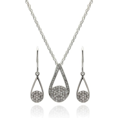 Wholesale Sterling Silver 925 Rhodium Plated Open Teardrop CZ Dangling Hook Earring and Necklace Set - STS00411